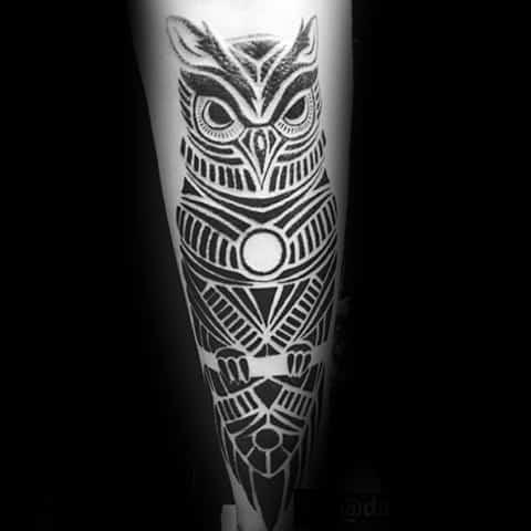 Guy With Creative Tribal Owl Leg Black Ink Tattoo Design