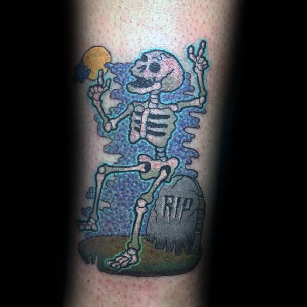 Guy With Dancing Skeleton Tattoo