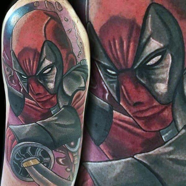 Guy With Deadpool Sword Half Sleeve Tattoo