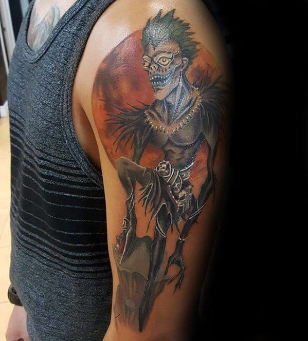Guy With Death Note Tattoo Design On Arm