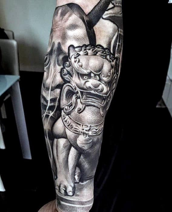 Guy With Different Fu Dog Shaded 3d White And Grey Ink Sleeve Tattoo