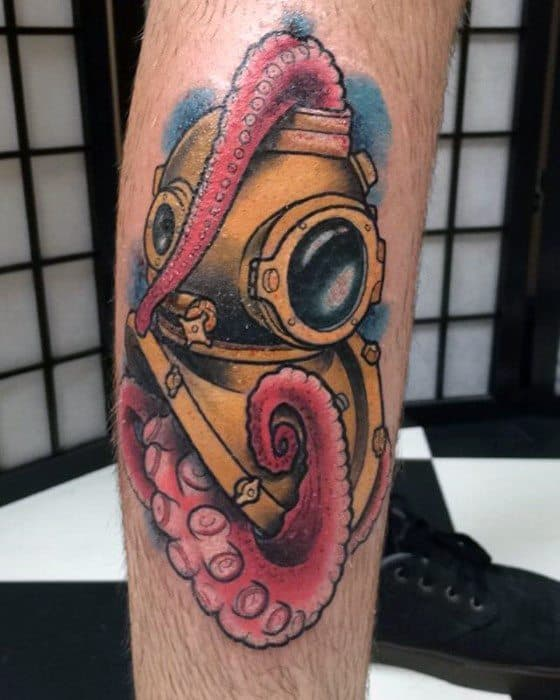 Guy With Diving Helmet Tattoo With Octopus Tentacles Design On Side Of Leg