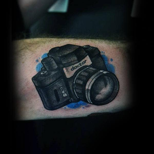 Guy With Doctor Camera Tattoo On Forarms