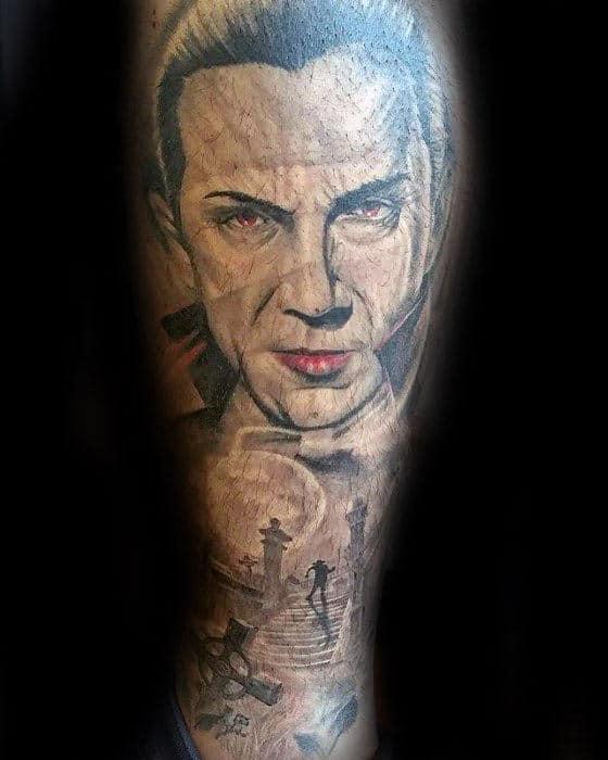 Guy With Dracula Cemetary Leg Sleeve Tattoo