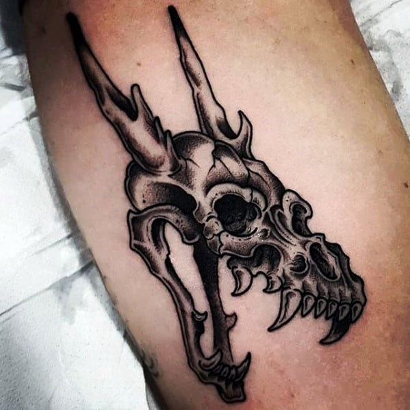 Guy With Dragon Animal Skull On Arm