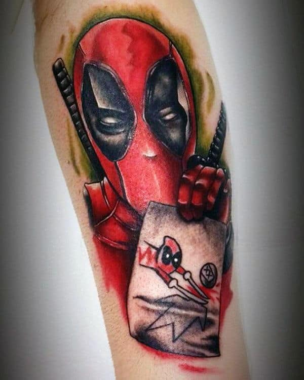 Guy With Drawing Deadpool Forearm Tattoo