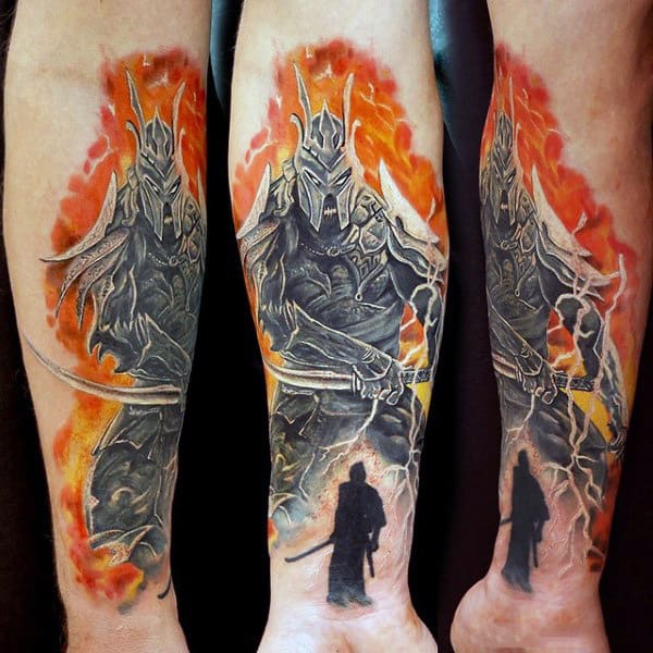 Guy With Enraged Warrior Engulfed In Orange Flames Tattoo Forearms