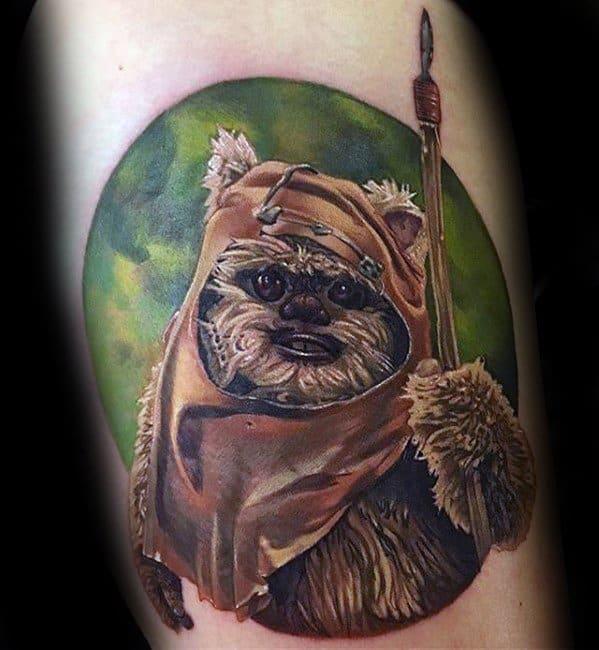 Guy With Ewok Tattoo Design