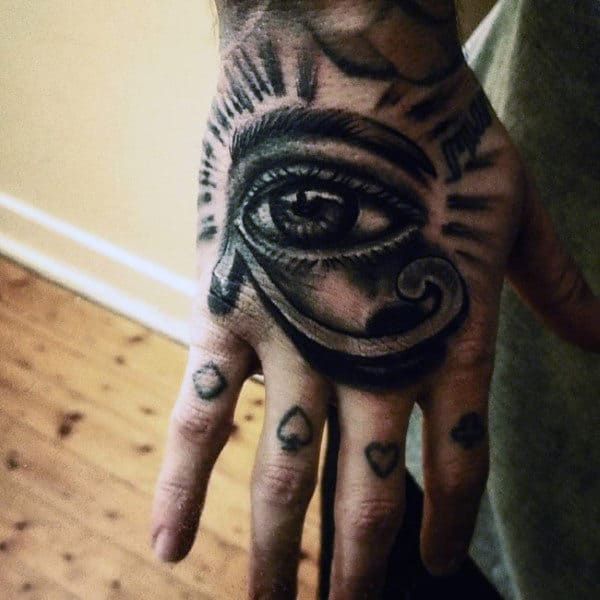 Guy With Eye Of Horus Hand Tattoo
