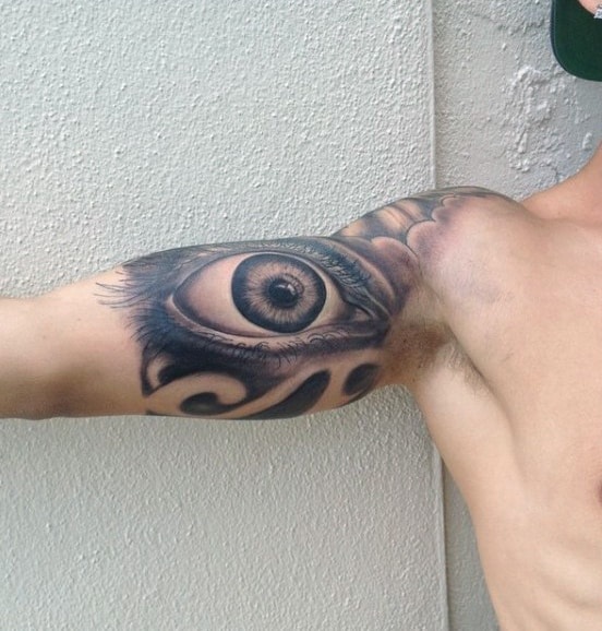 Guy With Eye Tatoo Male Inner Biceps