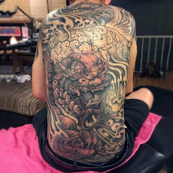 Guy With Fantastic Detailed Design Dragon Tattoo Full Back