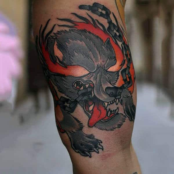 Guy With Fiery Neo Traditional Tattoo On Forearms