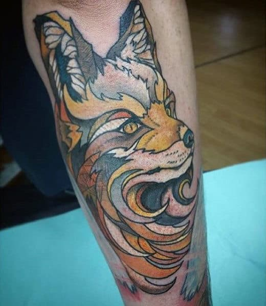 Guy With Fine Brown Fox Tattoo On Forearms