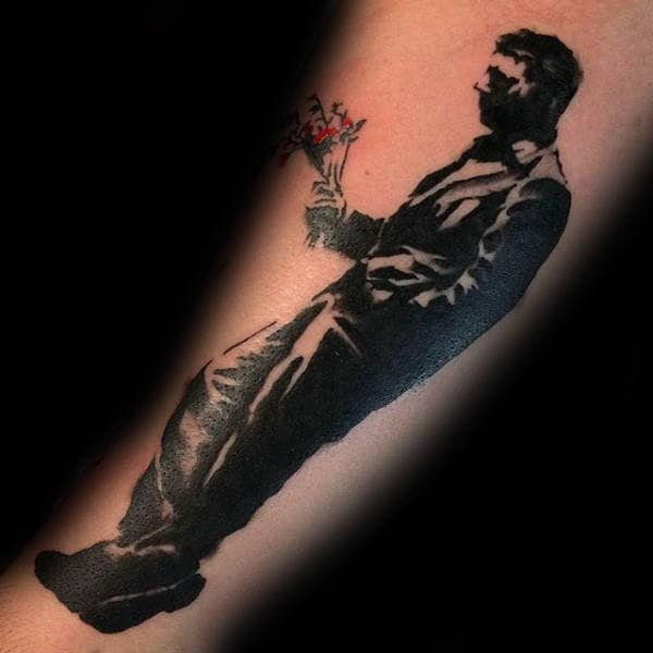 Guy With Flowers Male Banksy Forearm Tattoo
