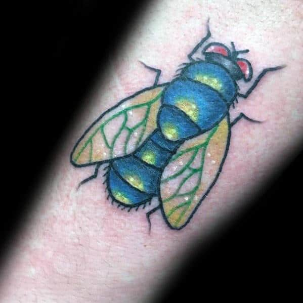 Guy With Fly Tattoo Design
