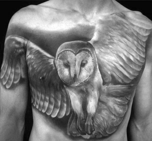Guy With Flying Realistic Barn Owl Shaded Black And Grey Ink Chest Tattoo