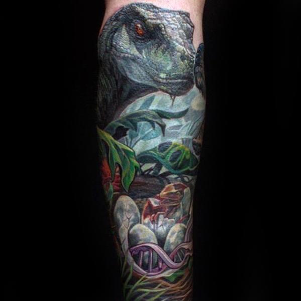 Guy With Forearm Sleeve Dinosaur Jurassic Park Tattoo Design