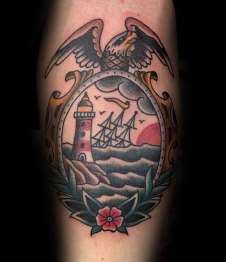Guy With Frame With Bald Eagle And Sinking Ship Inner Forearm Tattoo Design