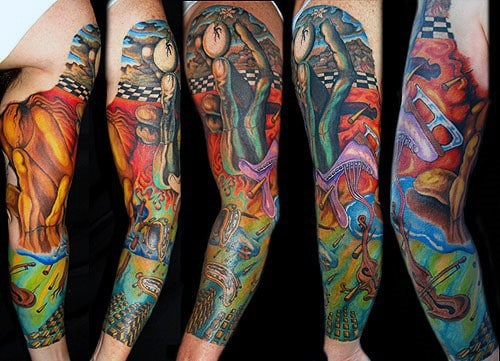Guy With Full Arm Sleeve Colorful Art Salvador Dali Tattoo Design
