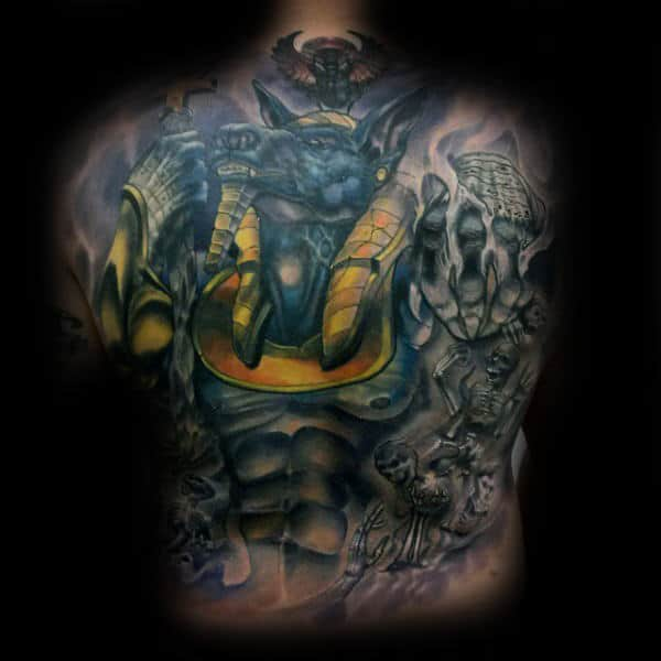 Guy With Full Back Anubis Tattoo