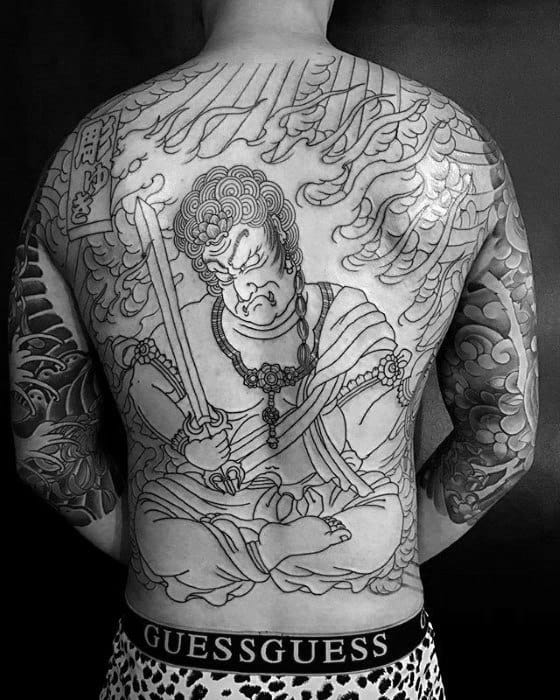 Guy With Full Back Black Ink Fudo Myoo Tattoo Design