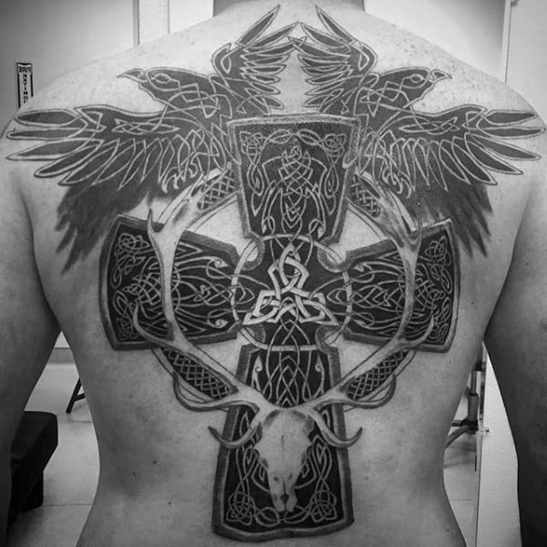 Guy With Full Back Celtic Cross Tattoo And Flying Birds