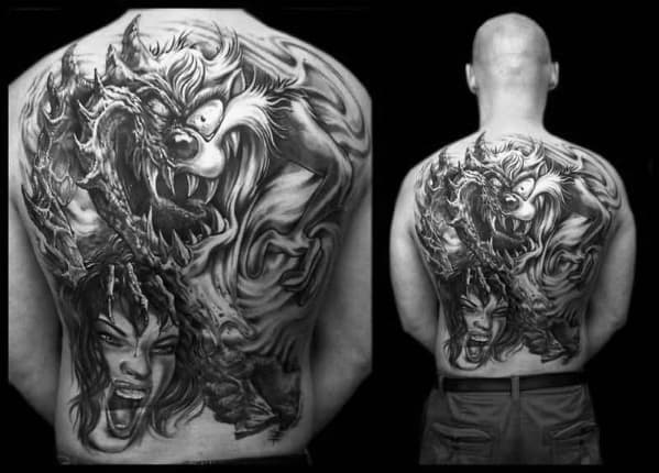 Guy With Full Back Tasmanian Devil Tattoo Design