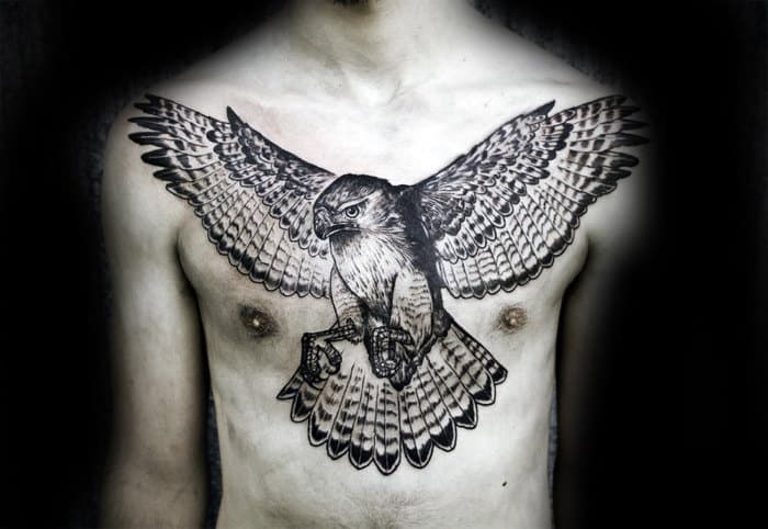 Guy With Full Chest Hawk Outline Tattoo