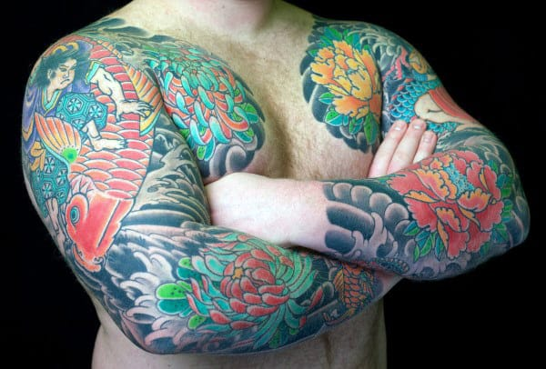 Guy With Full Sleeve Peony Flower Japanese Tattoos