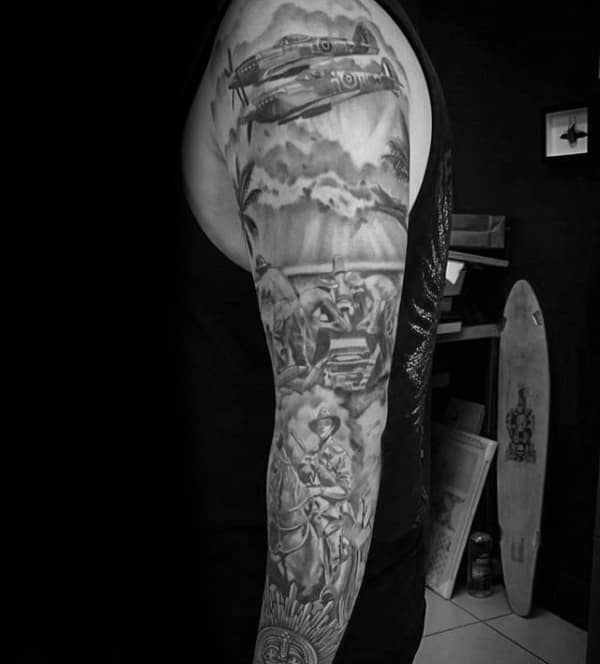 Guy With Full Sleeve Shaded Ww2 Themed Tattoo Design