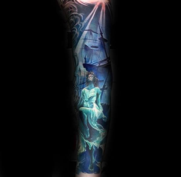 Guy With Full Sleeve Shipwreck Tattoo Design