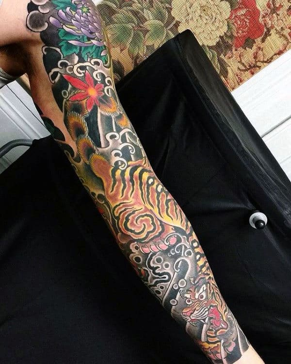 Guy With Full Sleeve Tattoo Of Japanese Tiger