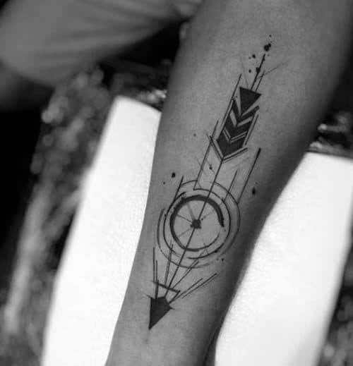 Guy With Geometric Arrow Tattoo Design