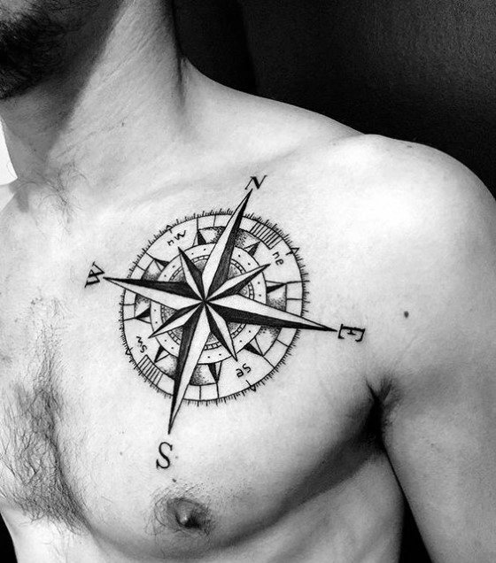 Guy With Geometric Compass Tattoo Design