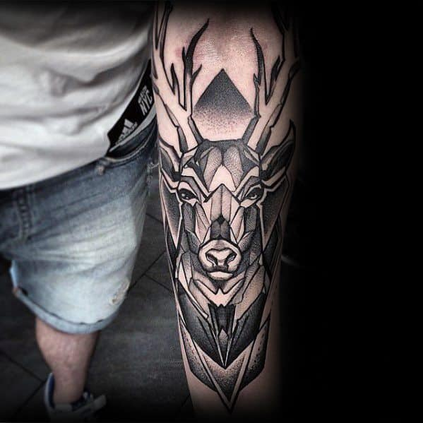 Guy With Geometric Deer Inner Forearm Tattoo Design