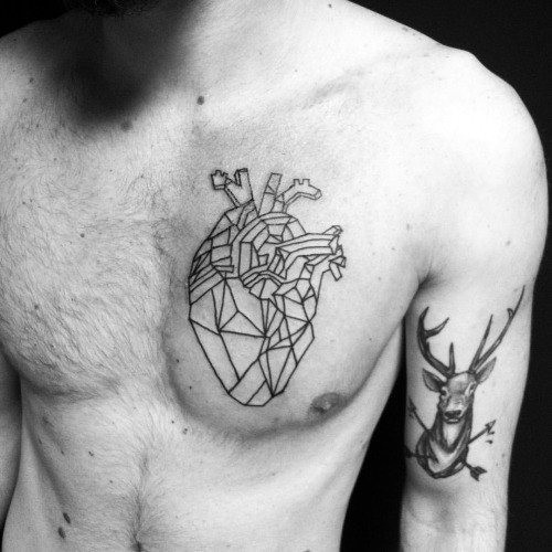 Guy With Geometric Heart Upper Chest Tattoo Design