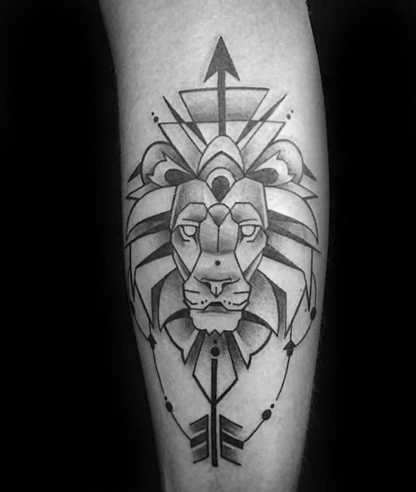 Guy With Geometric Leg Lion Tattoo Design