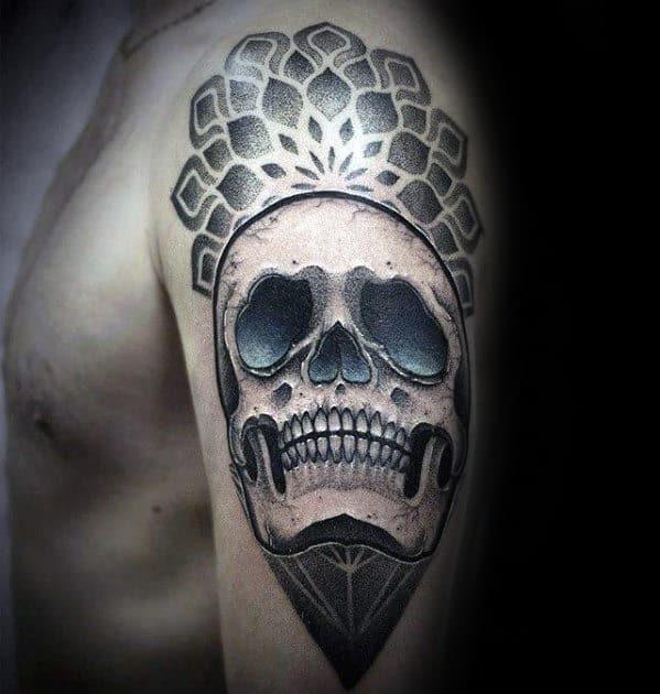 Guy With Geometric Skull 3d Tattoo Design On Arm