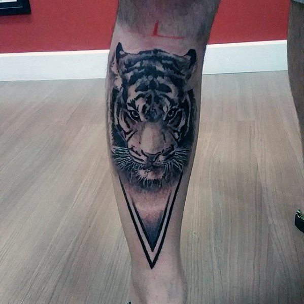 Guy With Geometric Tiger Tattoo Design