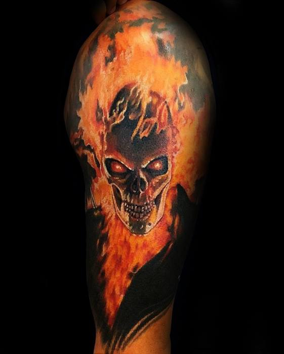 Guy With Ghost Rider Tattoo Design