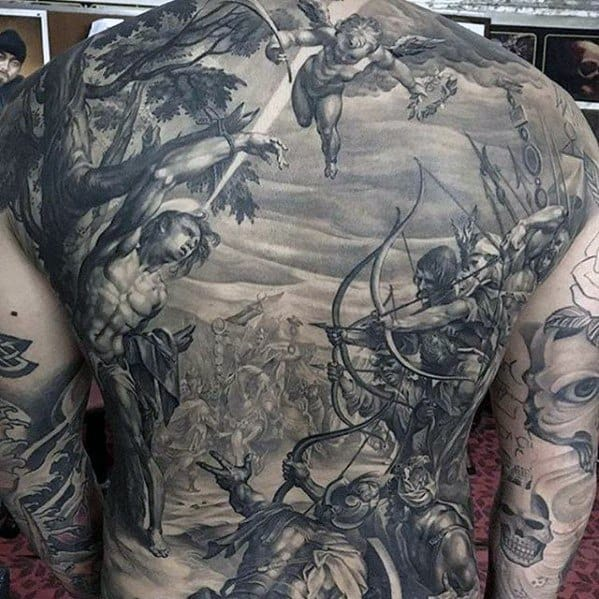 Guy With Greatest Tattoo Design On Back