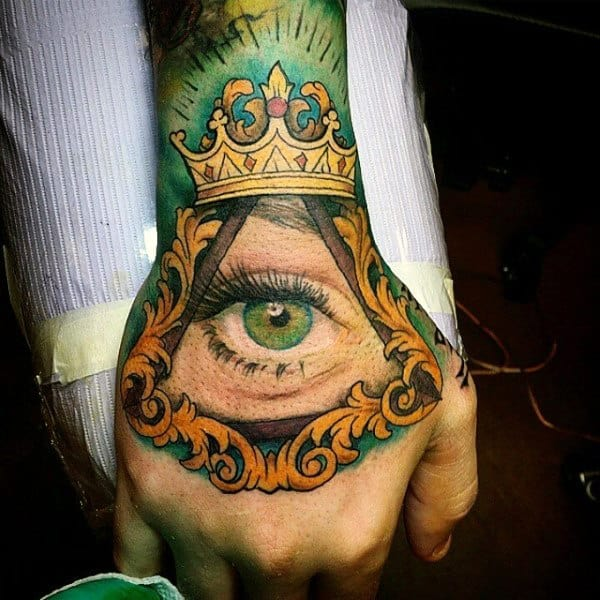 Guy With Green Eye And Yellow Tattoo On Hands