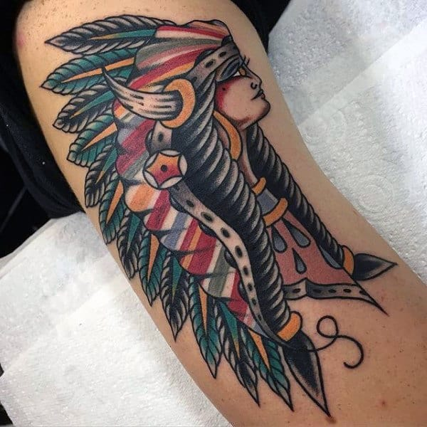 Guy With Green Feathered Headdress On Tribal Girl Tattoo Forearms