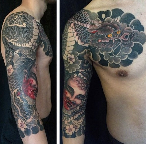 Guy With Grey Smoky Dragon Tattoo Sleeves