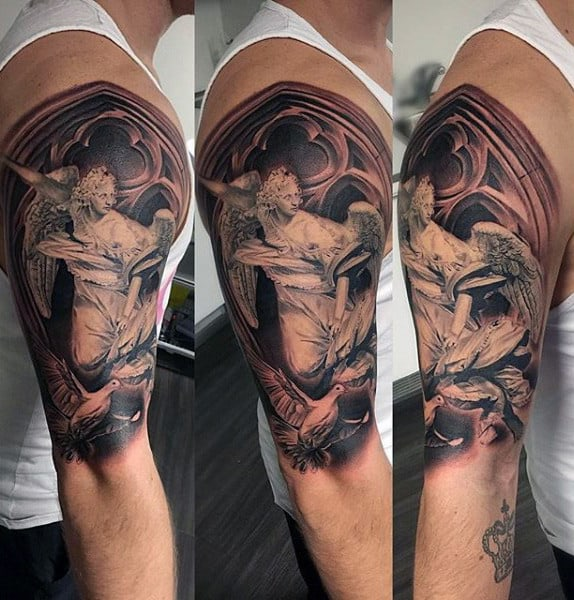Guy With Guardian Angel And Dove Tattoo On Arms
