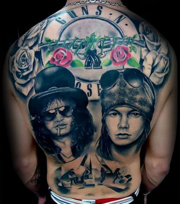 40 Guns And Roses Tattoo Designs For Men Hard Rock Band