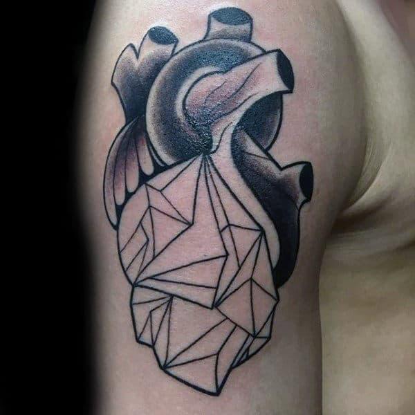 Guy With Half Geometric Heart Upper Arm Tattoo Design