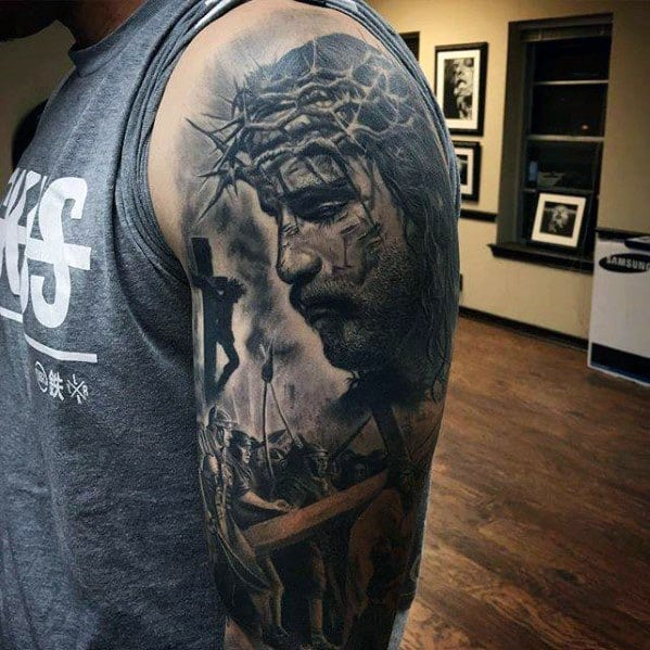 Guy With Half Sleeve 3d Jesus Tattoo Design