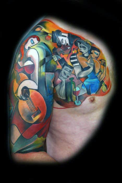 Guy With Half Sleeve And Chest Cubism Tattoo Design
