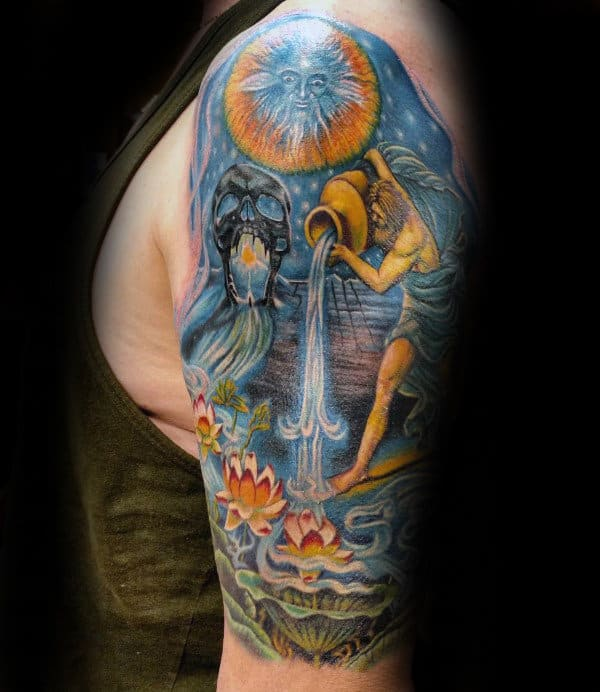 Guy With Half Sleeve Aquarius Tattoo Design